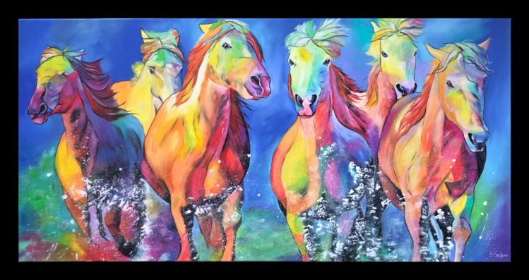 Abstrakt, Pferde, Acrylmalerei, Pferdeherde, Malerei, Wild