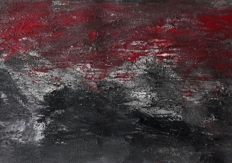 Acrylmalerei, Schwarz, Lava, Farben, Vulkan, Rot