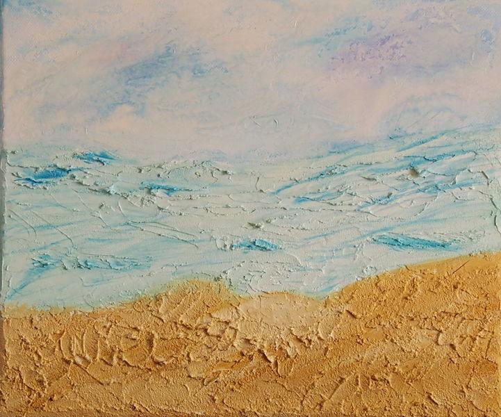 Acrylfarben, Kreativ, Strand, Welle, Kleister, Sand