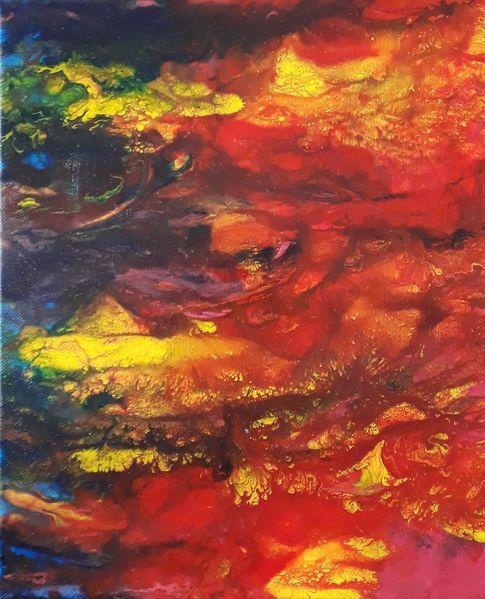 Fluid painting, Fantasie, Blau, Mischtechnik, Orange, Universum