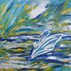 Schwan, Weiß, Blau, Abstrakt