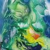 Bunt, Grün, Abstrakt, Malerei
