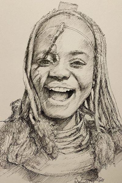 Tuschmalerei, Afrika, Figur, Frau, Illustrationen, Lebensfreude