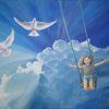 Schaukel, Freiheit, Taube, Vogel