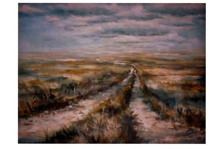 Acrylmalerei, Stillleben, Romantik, Landschaft, Weg, Himmel