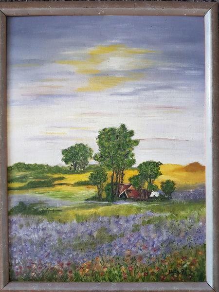 Haus, Landschaft, Baum, Malerei