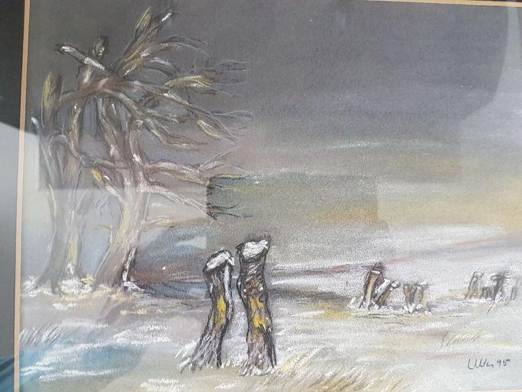 Winter, Baum, Schnee, Malerei