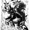 Zweig, Tiere, Linolschnitt sw, Eichhörnchen