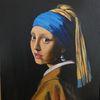 Frauenportrait, Mädchen mit perle, Acrylmalerei, Vermeer