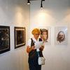 Zeichnung, Ausstellung, Gotisches haus, Pinnwand