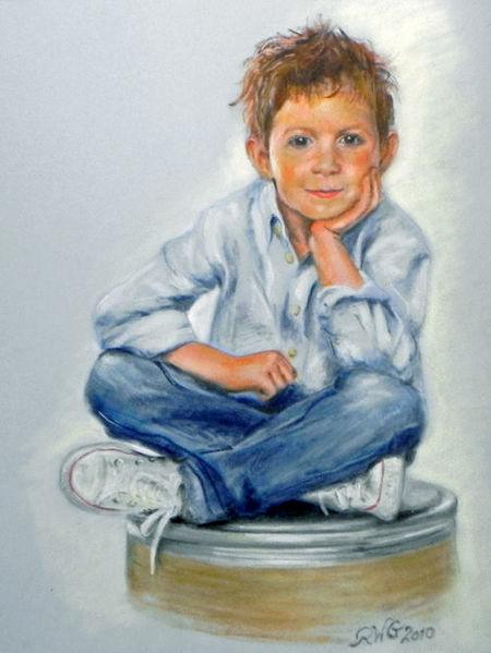 Junge, Turnschuhe, Portrait, Menschen, Kind, Jeans