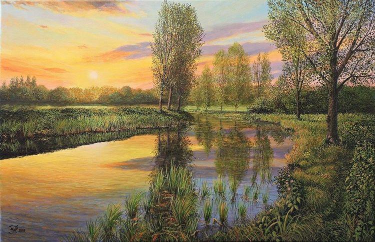 Sonnenuntergang, Wasser, Landschaft, Malerei, Kanal, Abendstimmung