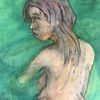 Junge frau, Meer, Pastellmalerei, Malerei