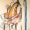 Pastellmalerei, Poncho, Stuhl, Malerei