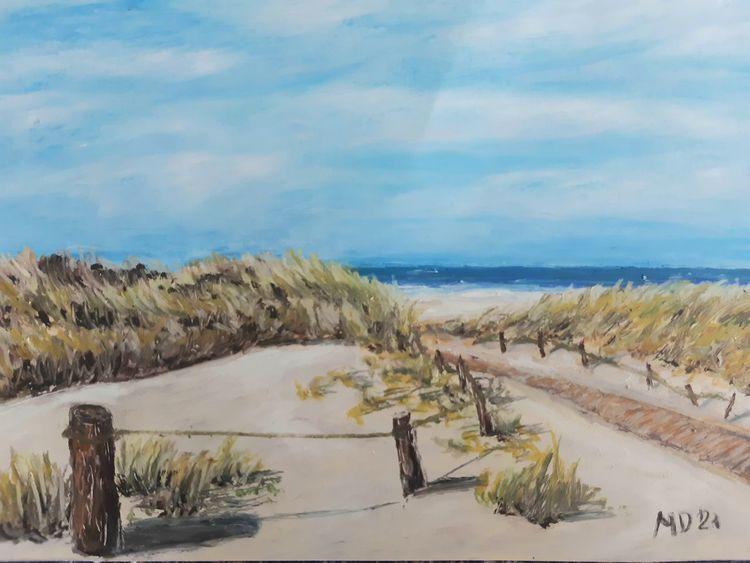Insel, Dünen, Strand, Langeoog, Malerei