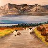 Pastellmalerei, Irland, Schaf, Connemara