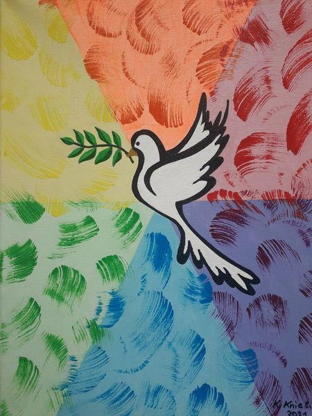 Bunt, Regenbogenfarben, Taube, Malerei, Frieden