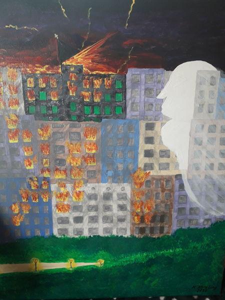 Katastrophe, Zorn, Acrylmalerei, Malerei, Inferno