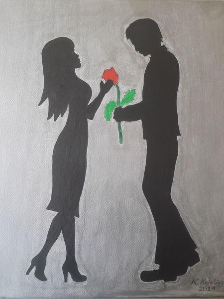 Liebespaar, Rose, Silber, Malerei, Liebe
