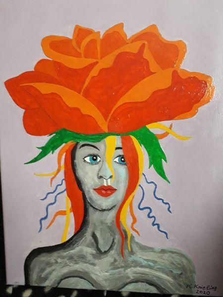 Frau, Rose, Bunt, Malerei, Madame, Orange