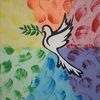 Bunt, Regenbogenfarben, Taube, Malerei