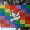 Bunt, Taube, Regenbogenfarbmuster, Malerei