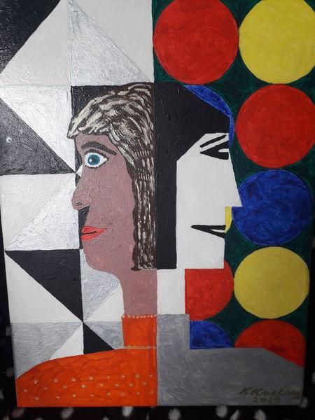 Bunt, Eckig, Zwei frauen, Malerei, Rund