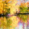 Natur, Ölmalerei, Spiegelung, Landschaft malerei