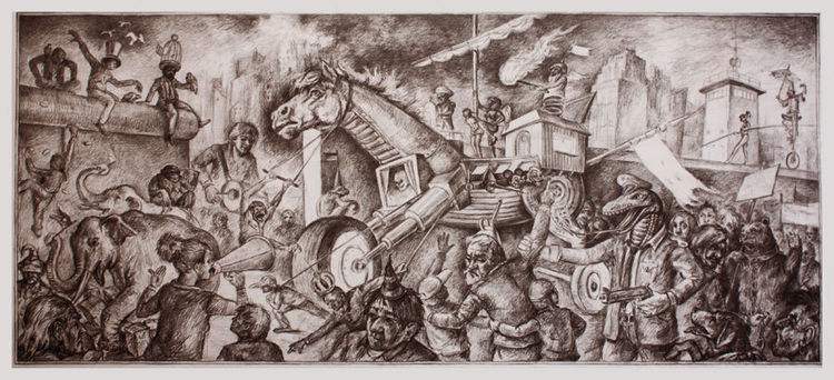 Kalter krieg, Vertreibung, Vereinigung, Apokalypse, Bedrohung, Zeichnungen