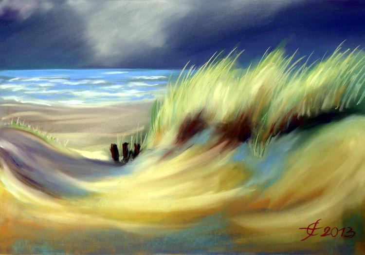 Pastellmalerei, Nordseeinsel, Nordseedüne, Seegras, Wangerooge, Malerei