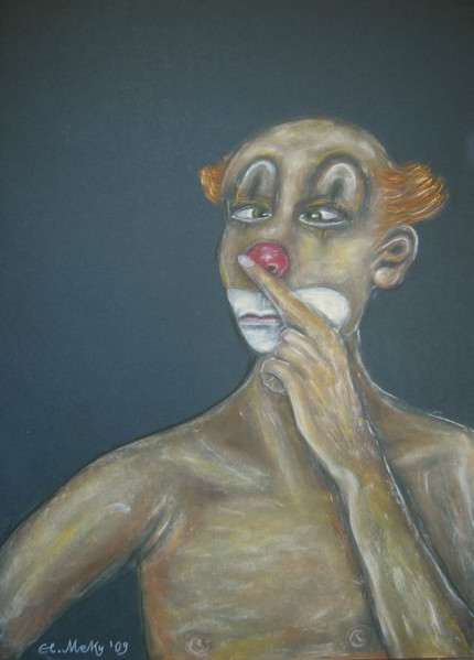 Weinen, Clown, Lachen, Pastellmalerei, Berlin, Zeichnungen