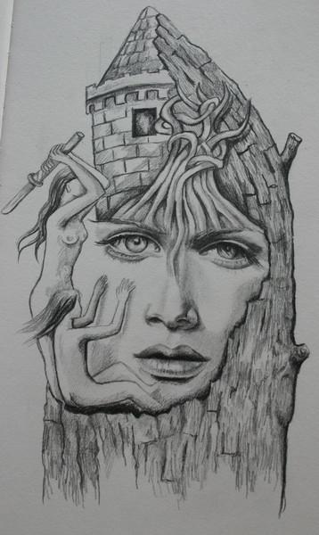 Gesicht, Baum, Schwert, Turm, Zeichnungen