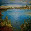 Italienische, See, International, Ölmalerei