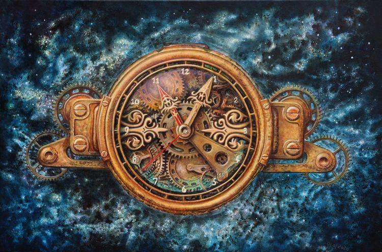 Uhr, Universum, Zeit, Steampunk, Malerei, Raum