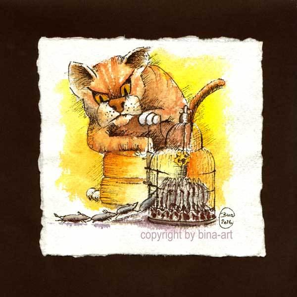 Katze, Maus, Käfig, Karikatur, Käse, Illustrationen