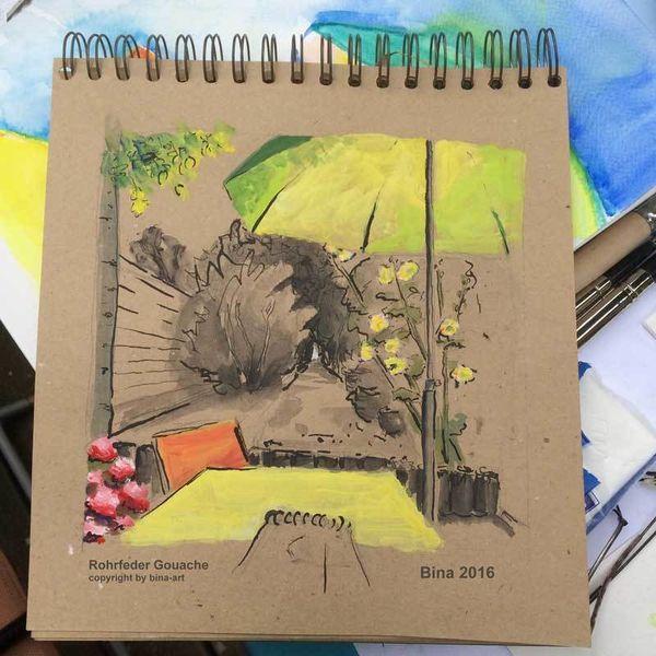 Garten, Hortensien, Terrasse, Stockrose, Schirm, Skizzenbuch