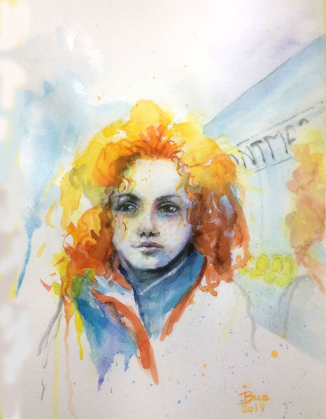 Rote haare, Redheadedwoman, Urbansketching, In paris, Aquarellmalerei, In der metro