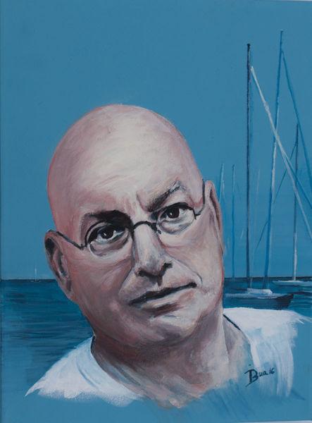 Menschen, Mann, Segelboot, Hafen, Meer, Portrait