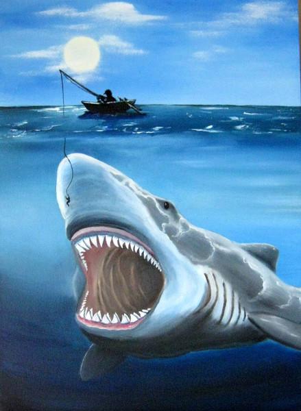 Meer, Boot, Angeln, Hai, Malerei