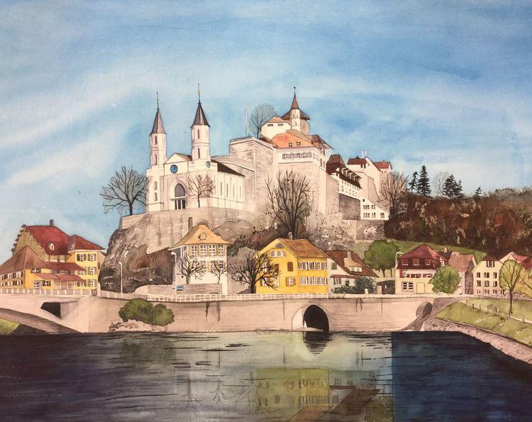 Aarburg, Aquarellmalerei, Festung, Wasser, Burg, Architektur