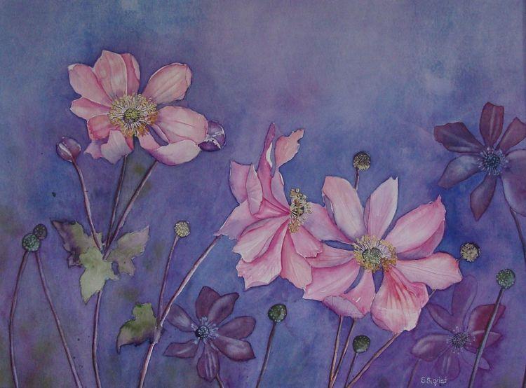 Schweiz, Aquarellmalerei, Herbst, Garten, Malters, Rosa
