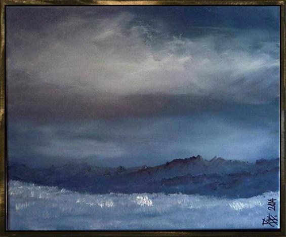 Nebel, Berge, Himmel, Elemente, Wolken, Malerei