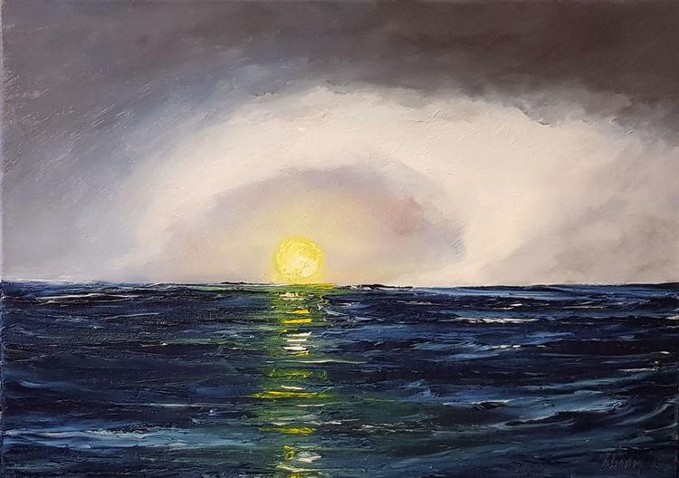Wasser, Sonne, Wolken, Atlantik, Meer, Malerei