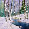 Winterwald, Bach, Ölmalerei, Malerei