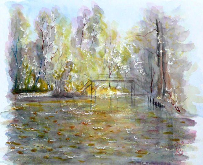 Aquarellmalerei, Spreewald, Fließ, Holzbrücke, Herbstlaub, Aquarell