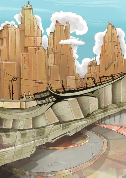 Cyberpunk, Stadt, Malerei, Surreal,