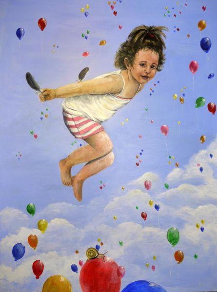 Kind, Blau, Feder, Luftballon, Himmel, Fliegen