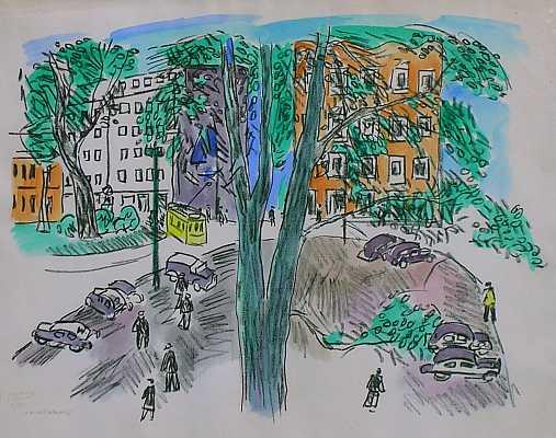 Park, Lithografie, Düsseldorf, 1948, Druckgrafik,