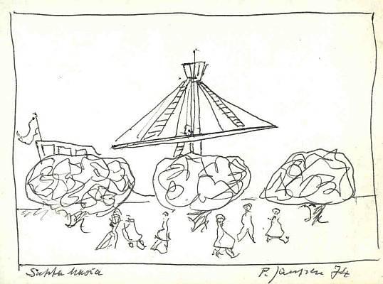 Skizze, Zeichnung, Santa maria, Malerei, 1974, Zeichnungen