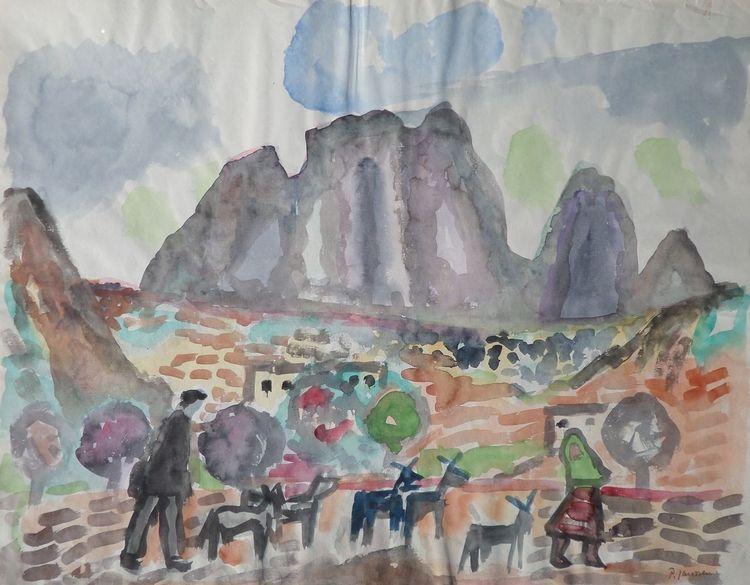 Aquarellmalerei, Spanien, Landschaft, Hailana, Mediterran, Malerei